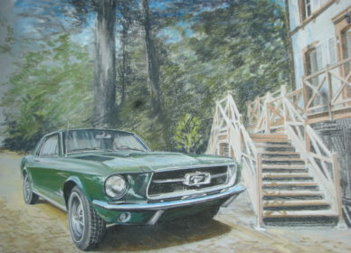 Mustang au vert